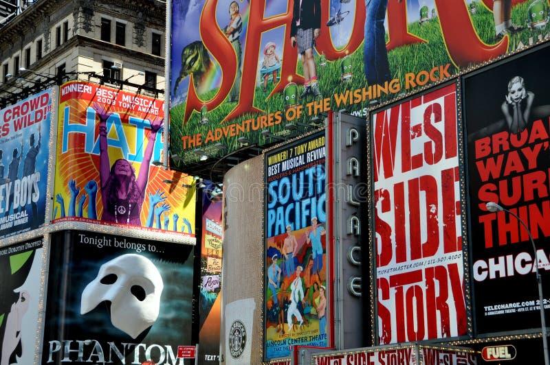 广告牌broadway nyc正方形时间 免版税图库摄影