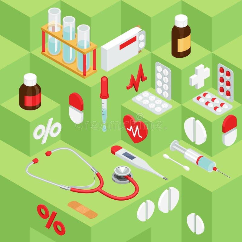 广告的平的标志关于药房,医疗项目 向量例证