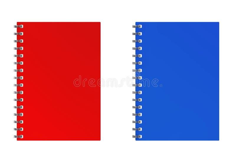 广告的或烙记的模板空白的笔记本红色和蓝色Moc 向量例证