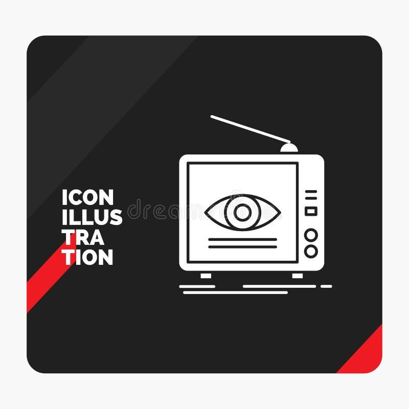 广告的红色和黑创造性的介绍背景,广播,营销,电视,电视纵的沟纹象 库存例证