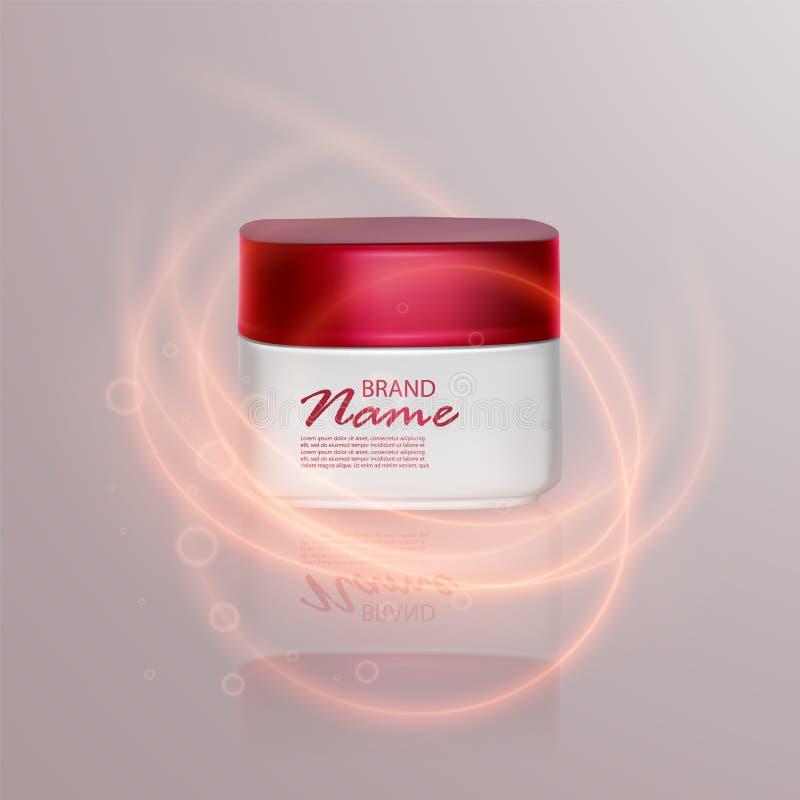 广告的豪华化妆模板,有照明设备火光作用的现实3d黑表面无光泽的化妆瓶子 传染媒介品牌 库存例证
