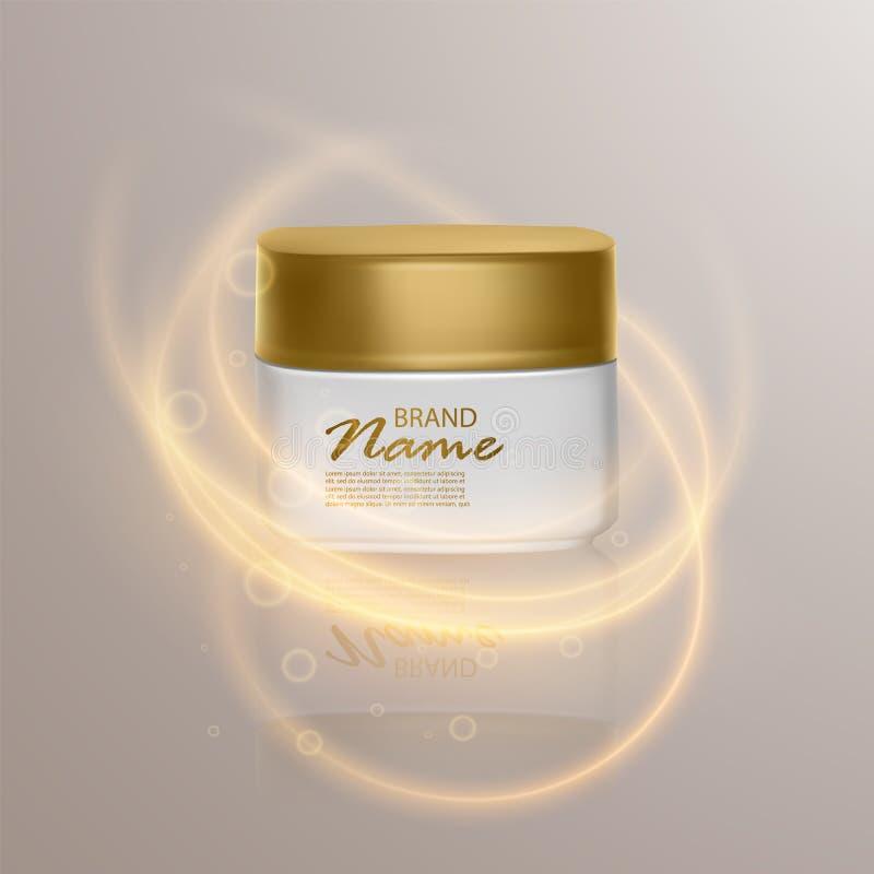 广告的豪华化妆模板,有照明设备火光作用的现实3d黑表面无光泽的化妆瓶子 传染媒介品牌 向量例证