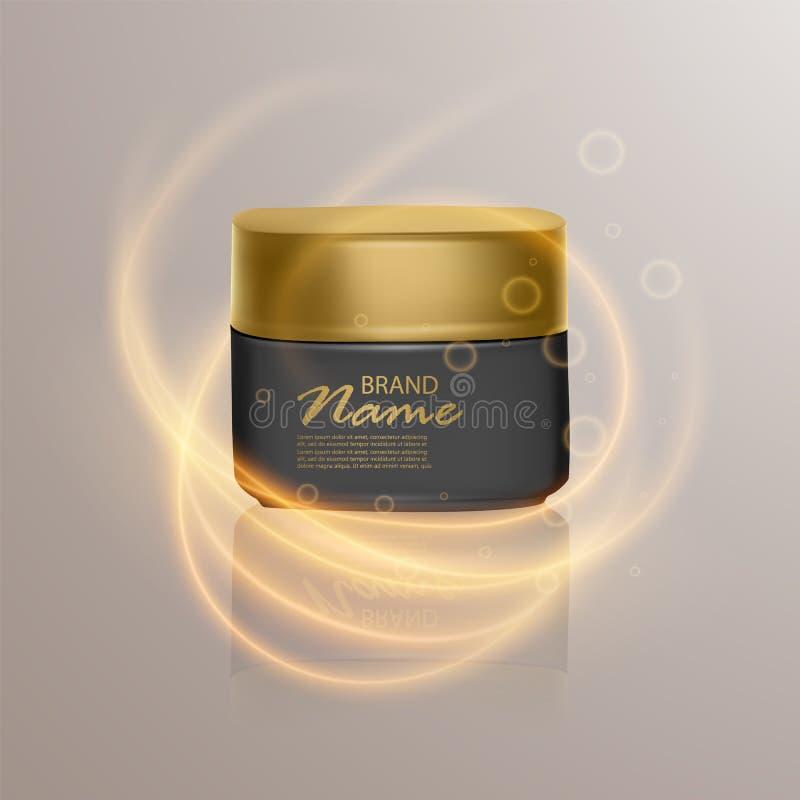 广告的豪华化妆模板,有照明设备火光作用的现实3d黑表面无光泽的化妆瓶子 传染媒介品牌 皇族释放例证