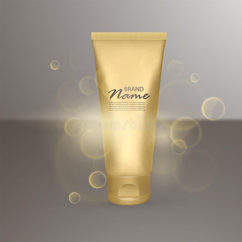 广告的豪华化妆模板,现实3d有照明设备火光作用的金表面无光泽的化妆瓶子 传染媒介品牌 向量例证