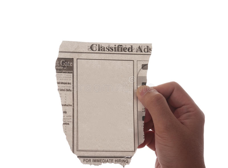 广告空白被分类的报纸 免版税库存照片