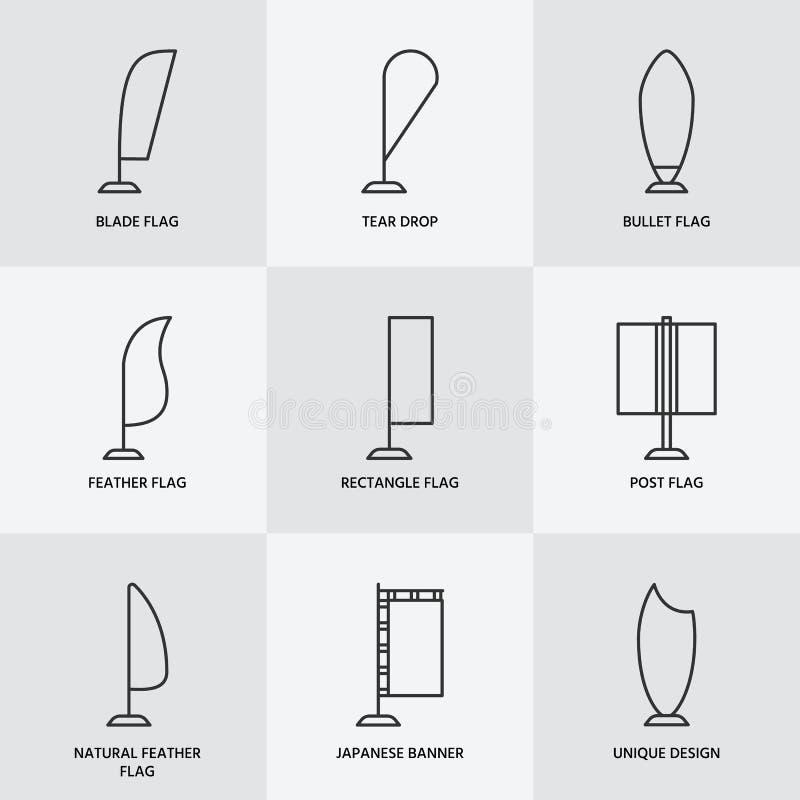 广告陈列弓旗子,促进设计元素平的线象 不同的形状类型-撕毁下落,刀片 库存例证