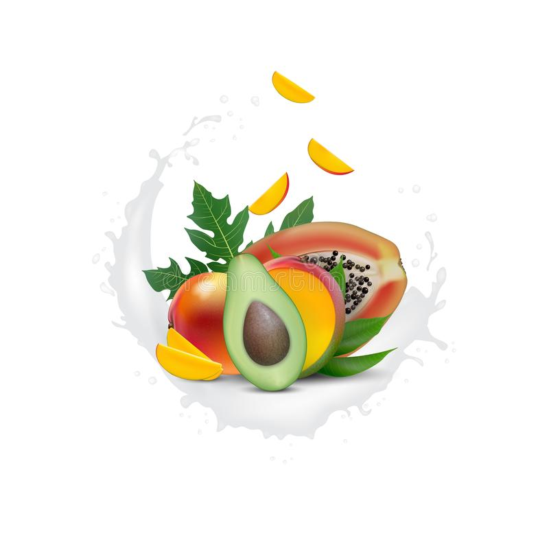 广告3d促进横幅,现实芒果,鲕梨,与落的切片的番木瓜 冰淇淋,酸奶,汁液品牌广告 ?? 向量例证