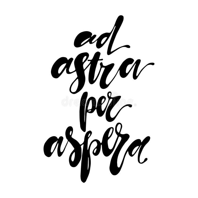 广告astra每只书面的aspera手在正面行情激动人心的拉丁词组上写字 库存例证