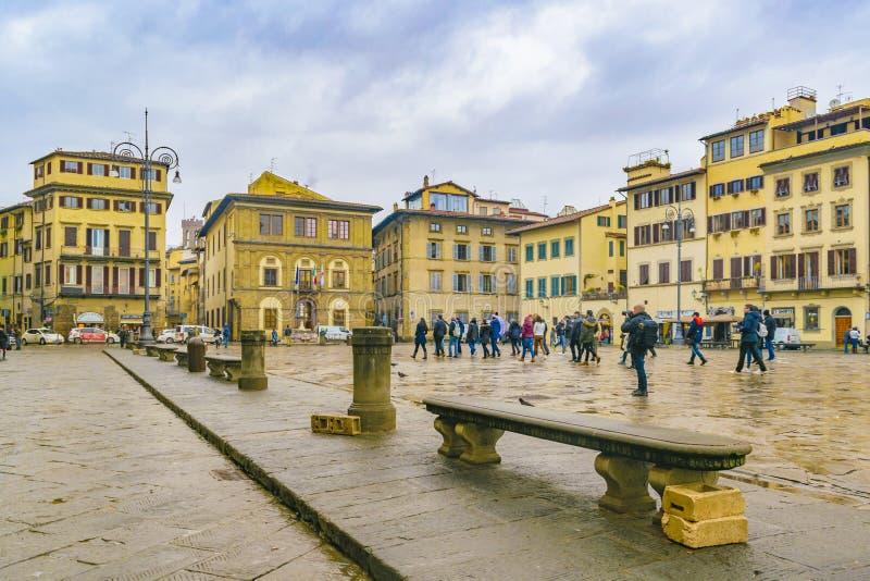 广场二三塔Croce,佛罗伦萨,意大利 免版税图库摄影