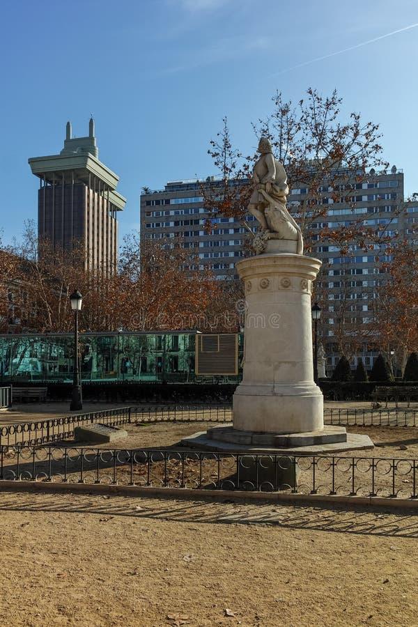 广场别墅de巴黎在马德里,西班牙  库存照片