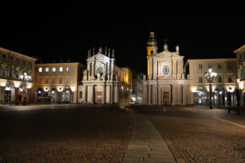 广场圣克罗在夜之前 库存图片