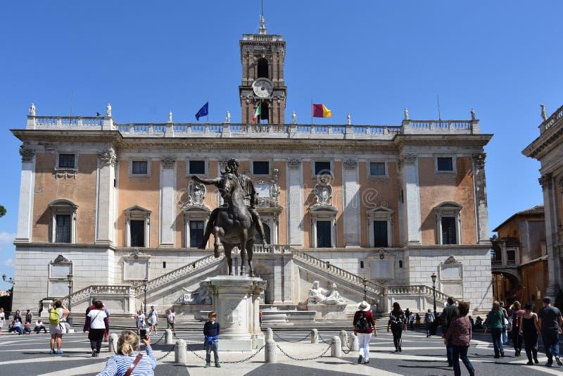 广场坎皮多利奥和Palazzo Senatorio在罗马 库存照片