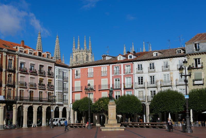 广场市长在布尔戈斯,西班牙 免版税库存图片
