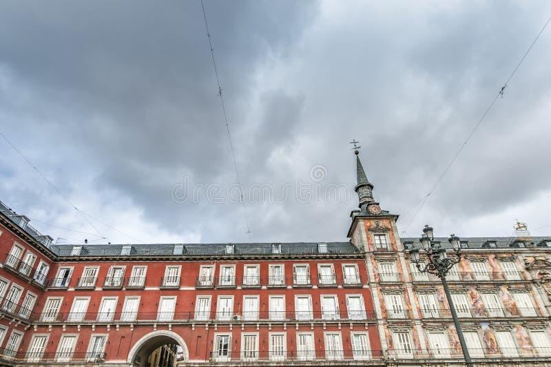 广场市长正方形在马德里,西班牙。 库存照片