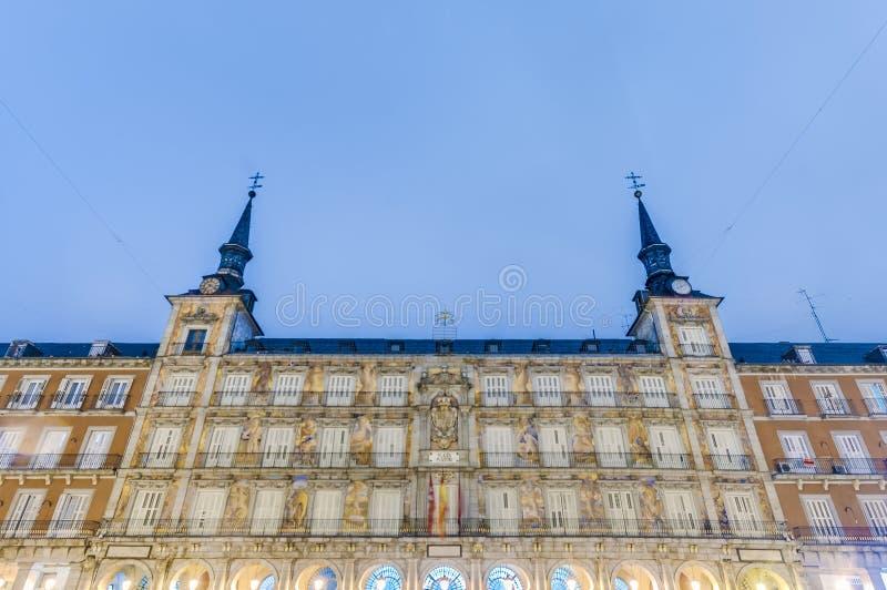 广场市长正方形在马德里,西班牙。 免版税图库摄影