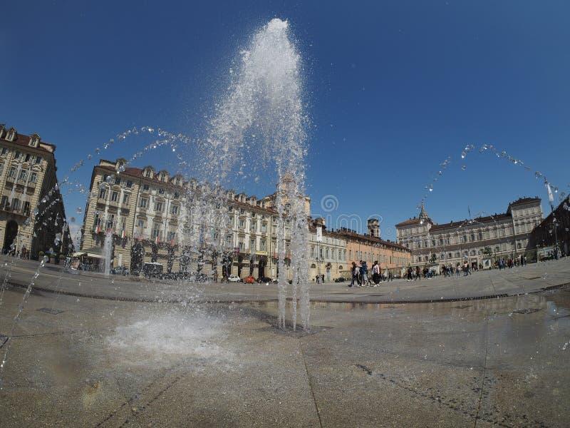 广场帝堡城广场在都灵 免版税库存图片