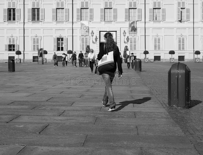 广场帝堡城广场在黑白的都灵 免版税库存图片