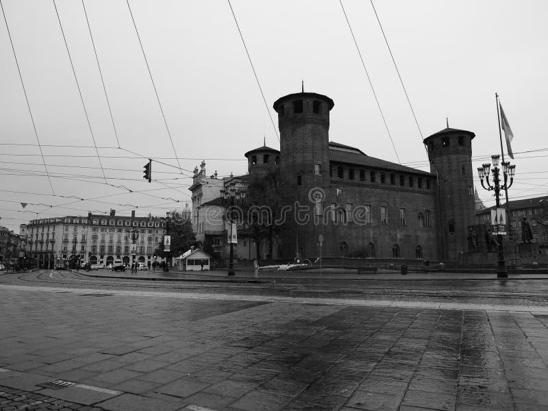 广场帝堡城广场在黑白的都灵 免版税图库摄影