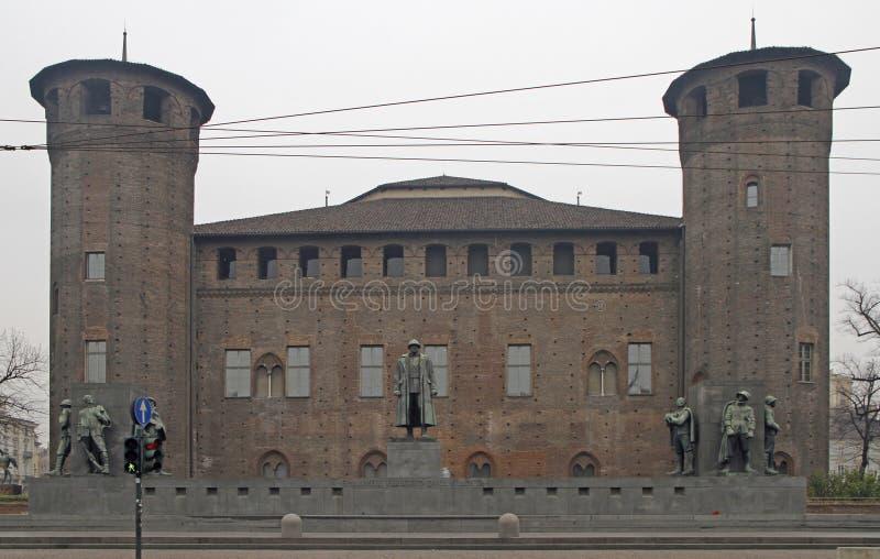 广场的帝堡城马达马宫在都灵,意大利 库存照片