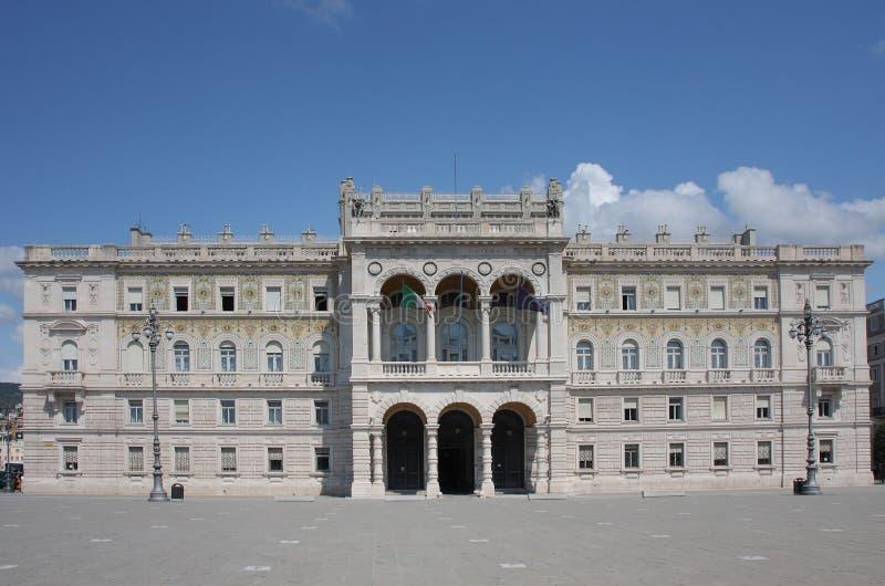 广场的政府宫殿在的里雅斯特,意大利团结 免版税库存图片