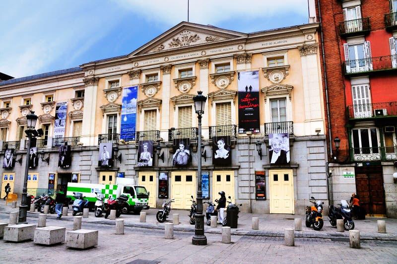 广场的de圣塔安那,马德里剧院 免版税库存图片