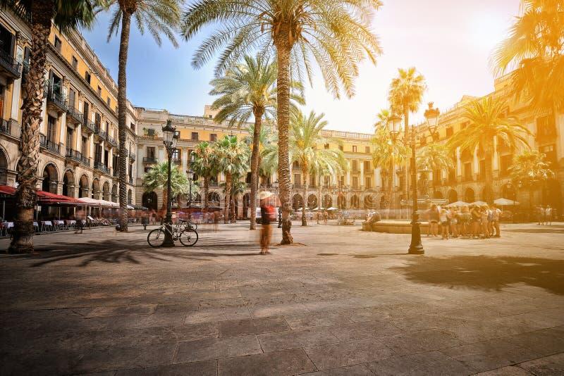 广场真正在巴塞罗那 库存图片
