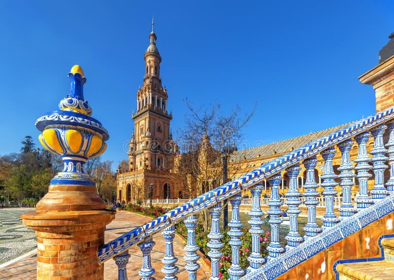 广场西班牙在塞维利亚,西班牙 库存照片