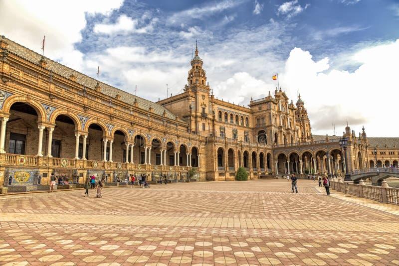广场西班牙,塞维利亚,西班牙 库存照片