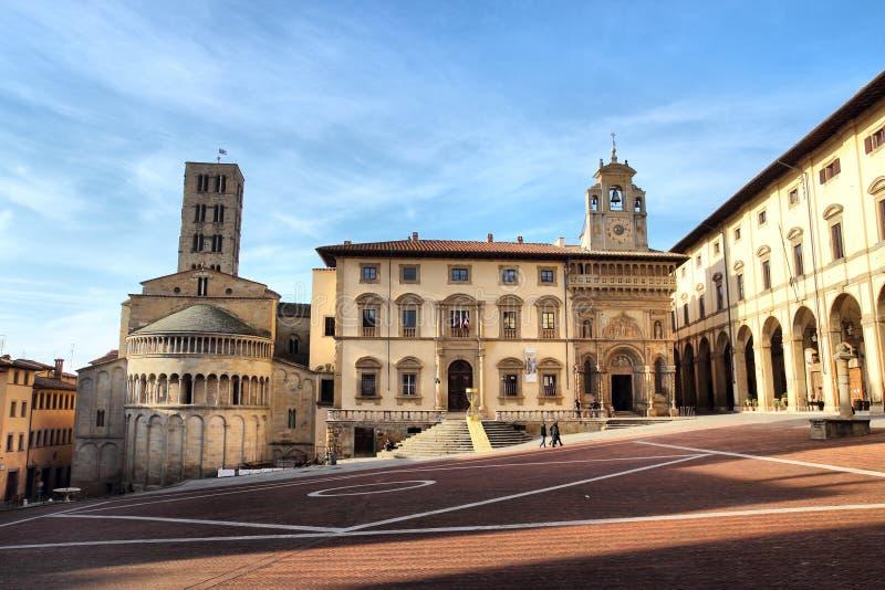 广场重创在阿雷佐,托斯卡纳,意大利 免版税库存照片