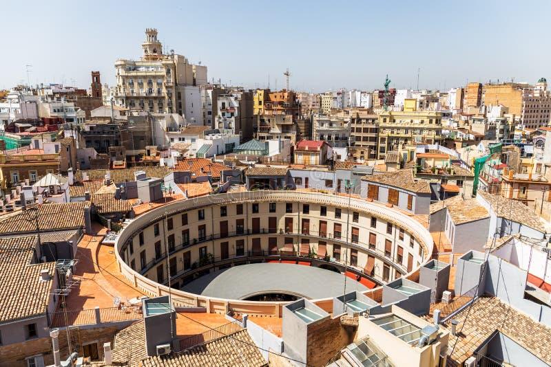 广场雷东达岛,巴伦西亚,西班牙鸟瞰图  库存照片