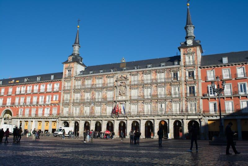 广场马德里西班牙市长晴朗的早晨 库存照片