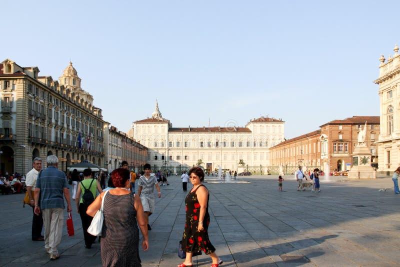 广场Castello在都灵意大利/意大利 库存图片