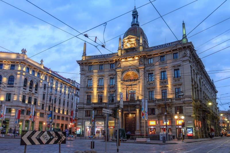 广场Cordusio,米兰,意大利 免版税库存照片