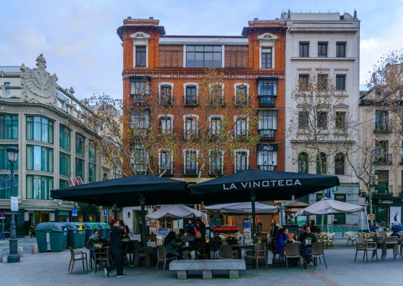 广场de圣安娜,在马德里 库存照片
