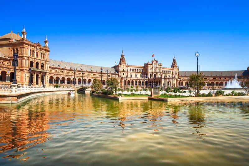 广场de西班牙塞维利亚,安大路西亚,西班牙,欧洲 库存照片