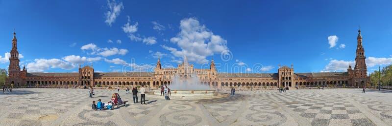 广场de西班牙的全景在塞维利亚,西班牙 库存照片