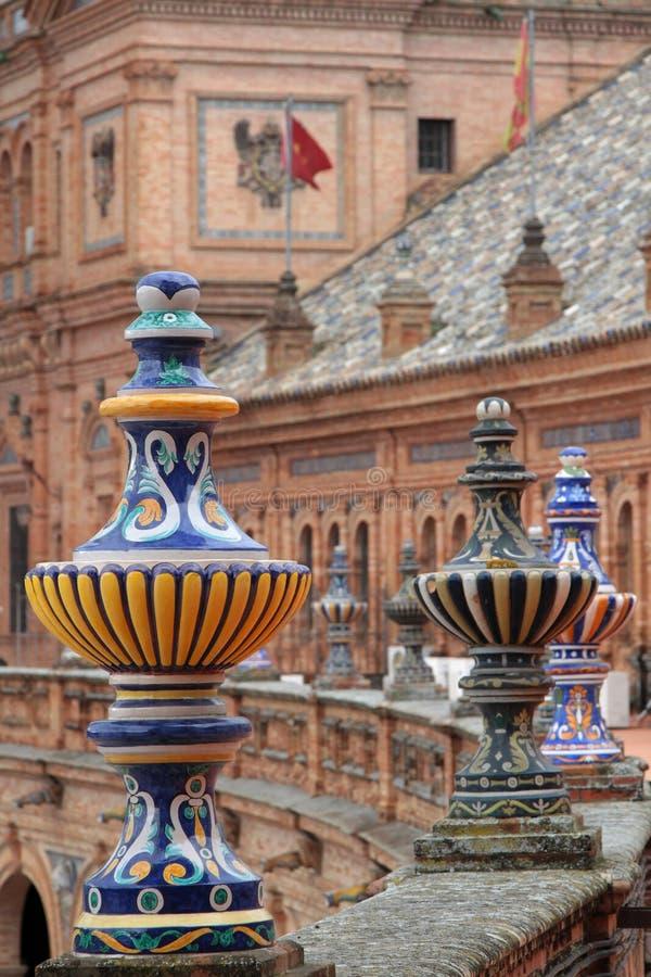 广场de西班牙的细节,在塞维利亚 库存照片