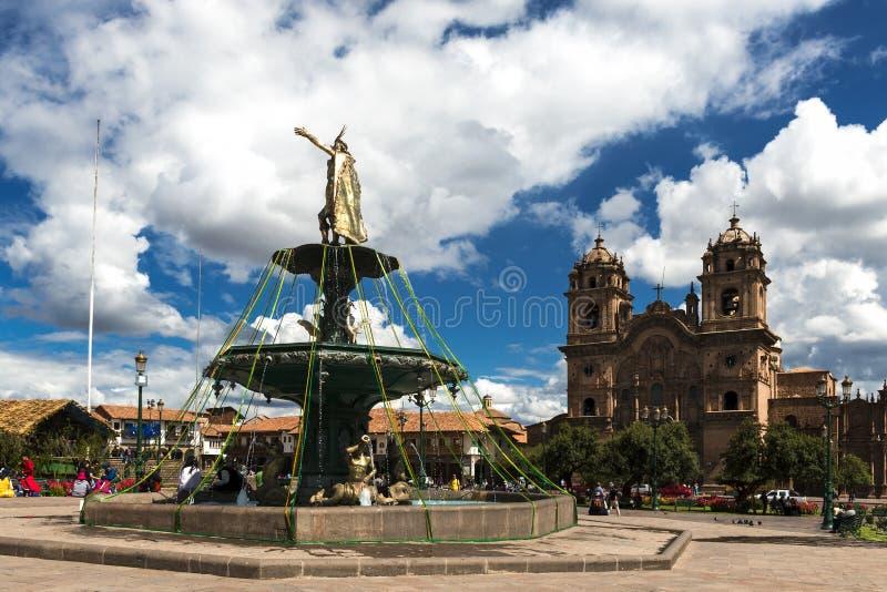 广场de阿玛斯的看法在市库斯科省,在秘鲁 免版税库存图片