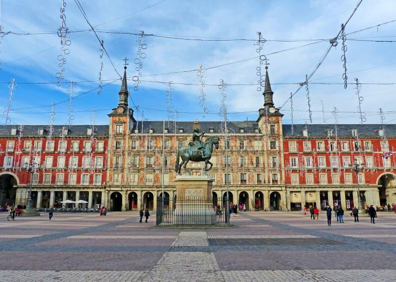 广场de马德里,西班牙市长 免版税库存照片
