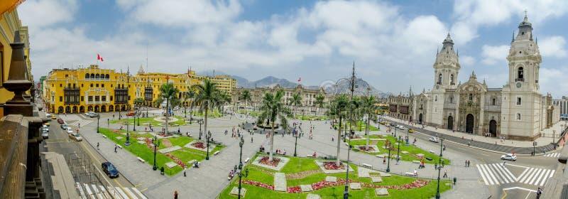 广场de armas在利马,秘鲁180视图 库存图片