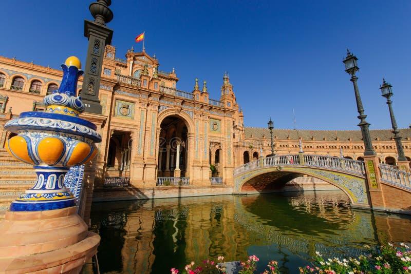 famous Plaza de西班牙,塞维利亚,西班牙 图库摄影