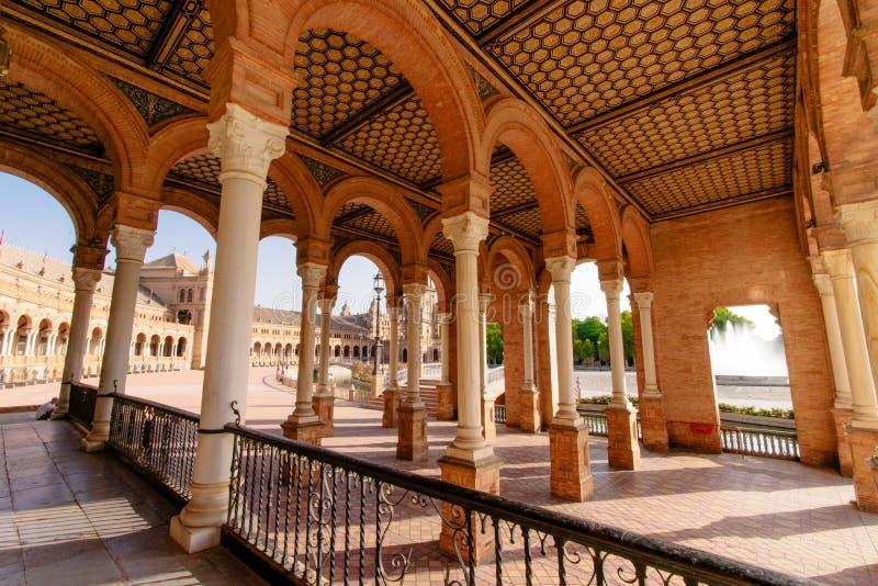 famous Plaza de西班牙,塞维利亚,西班牙 免版税库存图片