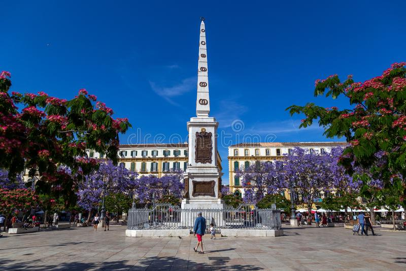 广场de la默塞德在马拉加 免版税库存照片