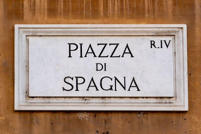 广场di spagna罗马路牌 免版税库存照片
