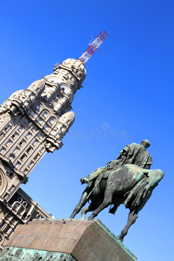 广场Independencia在蒙得维的亚 免版税库存照片