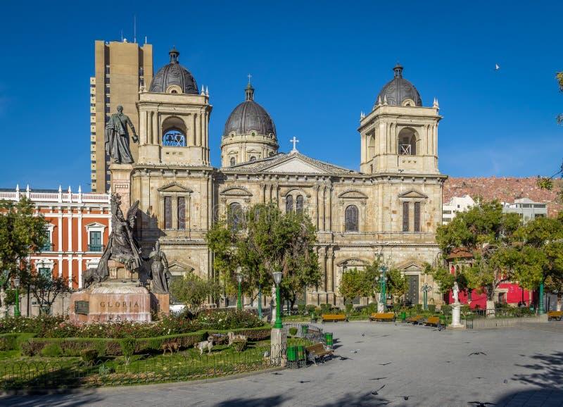 广场Murillo和大城市大教堂-拉巴斯,玻利维亚 库存照片