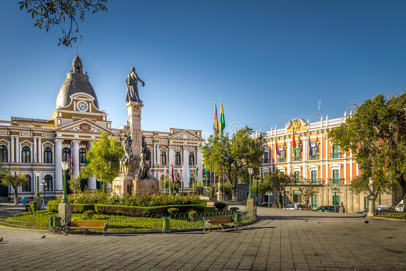 广场Murillo和政府的拉巴斯,玻利维亚玻利维亚的宫殿  库存图片