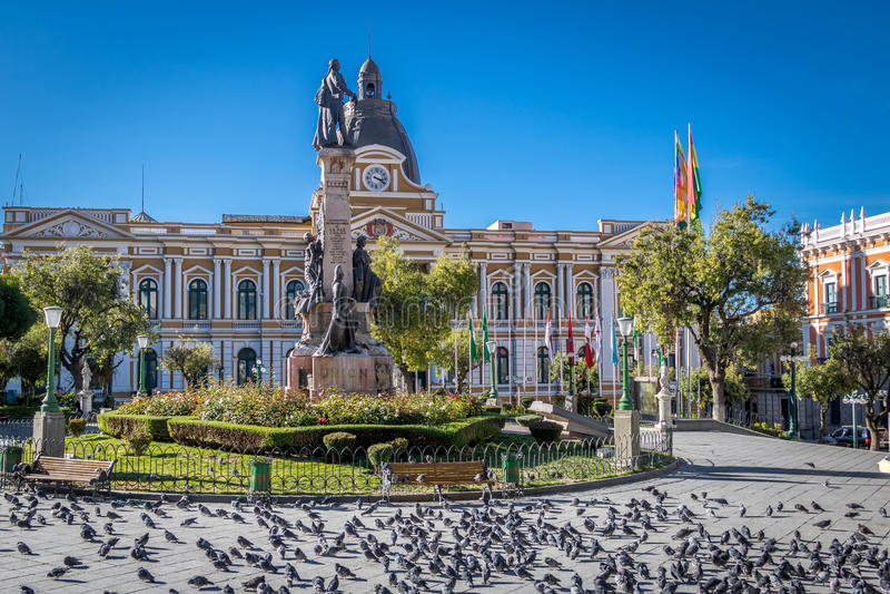 广场Murillo和政府的拉巴斯,玻利维亚玻利维亚的宫殿  免版税库存照片