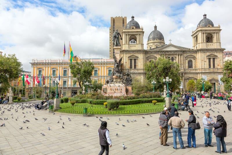 广场Murillo,拉巴斯,玻利维亚 免版税库存图片