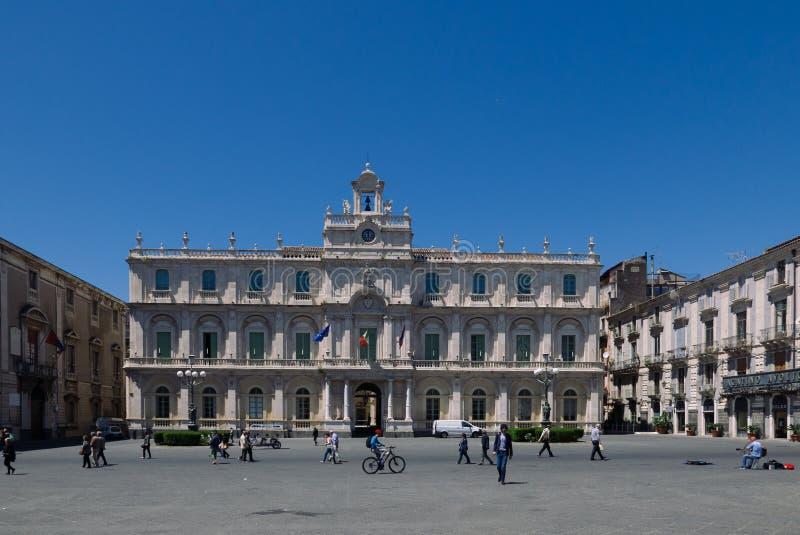 广场UniversitÃ卡塔尼亚 免版税库存照片